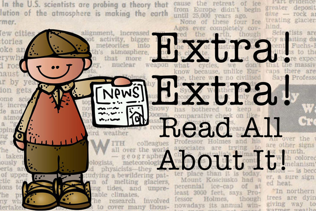 """Cartoon newsboy saying """"Extra! Extra! Read All About It!"""""""